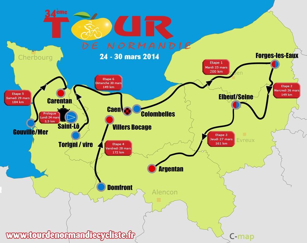 Le parcours du Tour de Normandie 2014