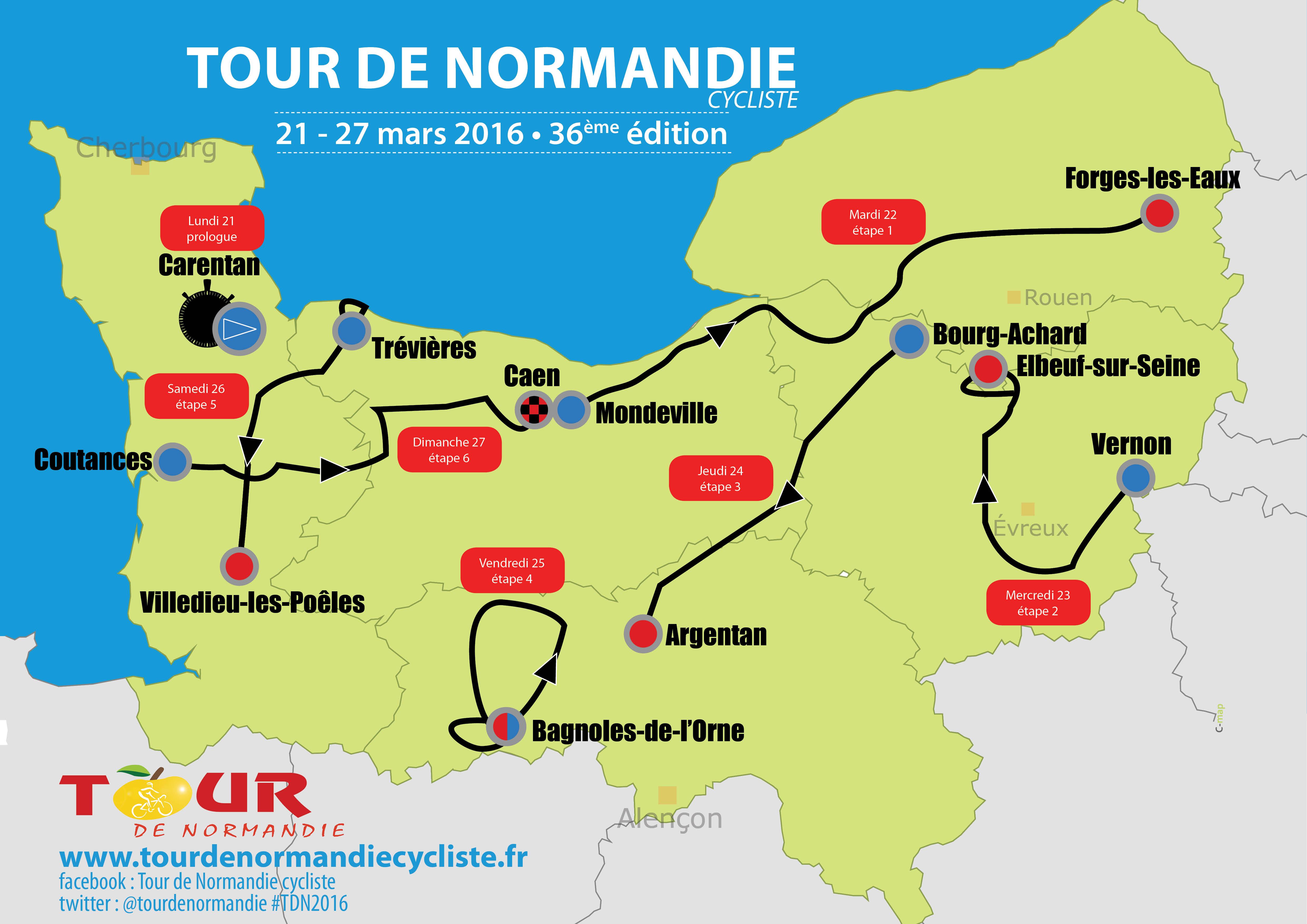 Le parcours du Tour de Normandie 2016