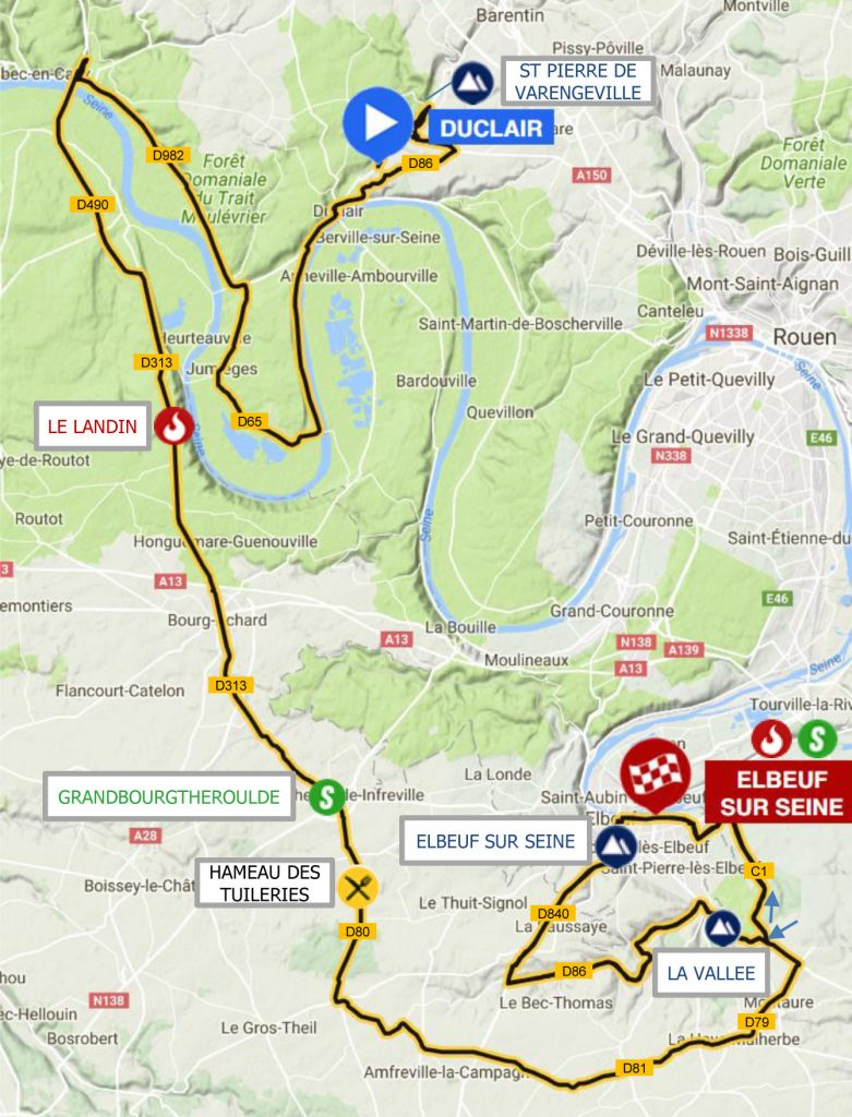 Carte Duclair Elbeuf tour de normandie 2017