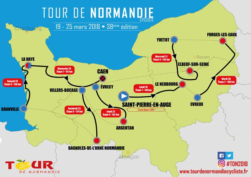 Parcours Tour de Normandie cycliste 2018