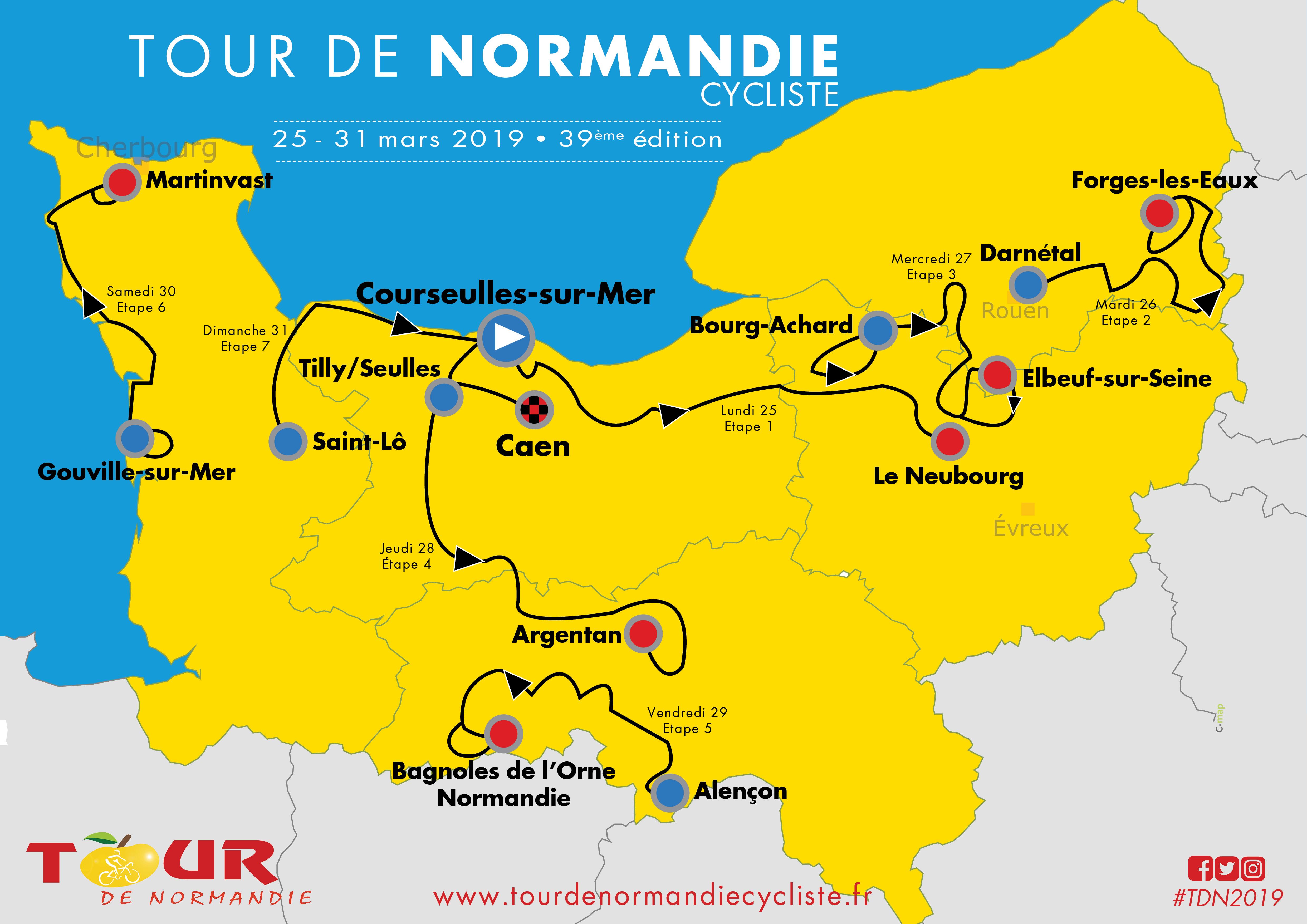 Tour de Normandie 2019 - La Carte du parcours